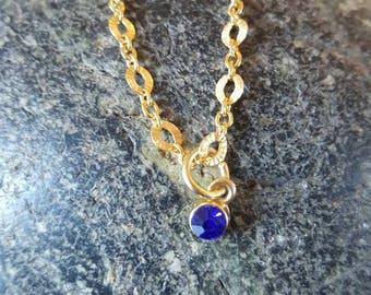 Gold Filled Necklace with Blue Gem Pendant