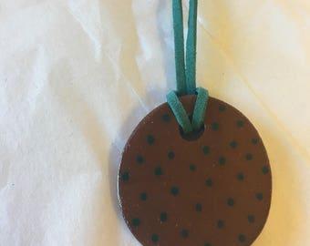 Teal Polka Dot Ceramic Necklace