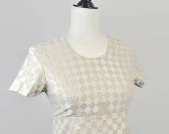 Vintage 1960s Embroidered Checker Mini Empire Dress Tee Beige White XS Small