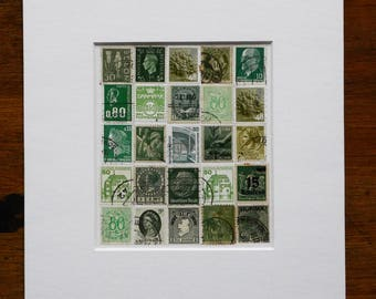 Green Stamp Collage - a unique one-of-a-kind gift