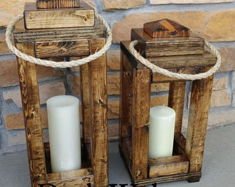 Wood Indoor/Outdoor Lanterns- Large and Small Set