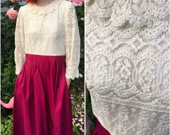 Vintage Off White Rose Lace Top Ruffle Collar With Raspberry Taffetta Pleated Bottom With Pockets 60's Dress