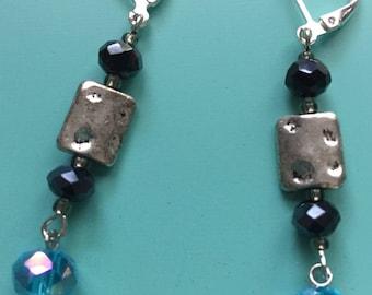 Dangle Earrings / Silver Earrings / Turquoise Earrings / Art Deco Earrings / Earring Set /Boho Earrings / Drop Earrings / Statement Earrings