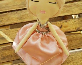 Cloth Doll, Fabric Doll, Heirloom Rag Doll, OOAK, Diamante Princess Crown, Pink and Silver Sparkle, Nursery Decor