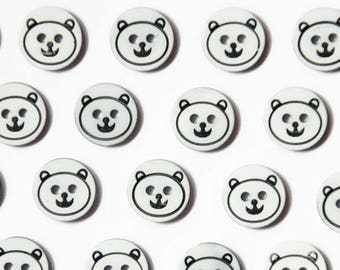 12 Bear Buttons 13mm - Resin Button Bears Buttons for Sewing Small Plastic - Cute Animal Buttons - White Black Button - Flat Round Buttons