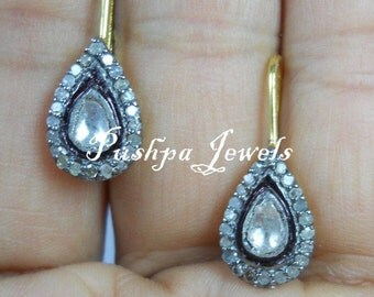 Victorian style rose cut diamond pave diamond sterling silver tear drop earrings - SKU PJ4101713