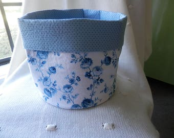 Fabric basket. Basket. Storage basket. Roses. Shabby chic