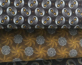 Brown Three Cats  Shweshwe African fabric