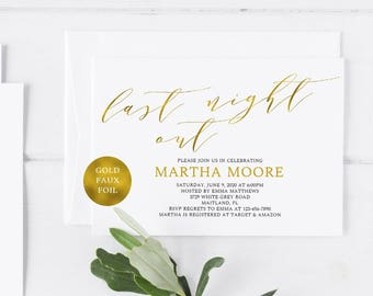 Gold Foil Bachelorette Party Invitation Template Bridal Shower Invitation Template Bachelorette Party Invite Template Last Night Out