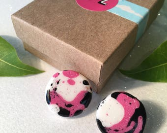 Pink Black & White Unique Arty Resin Earrings