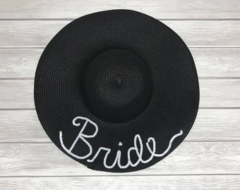 Bride Floppy Beach Hat | Personalized Floppy Hat | Sequin Floppy Hat | Bachelorette Party | Bridesmaid Gift | Honeymoon Hat