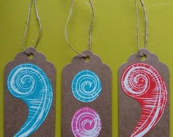 Spiral gift tags/Handmade tags/Lino print tags/Spiral print/Set of 3 tags/Original prints/Blue spirals/Red spiral/Pink spiral/Funky gift tag