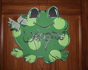 Frog Door Hanger, Welcome Door Art, Frog, Welcome, Polka Dots, Summer Door Hanger