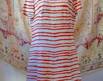 1950s Vintage Orange and White Striped Dress, A Leslie Fay Original