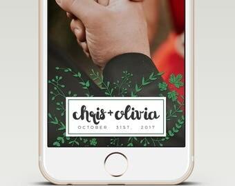 Elegant Earthy Calligraphy Custom Snapchat Wedding GeoFilter