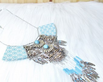 ethnic boho talisman fabric bib and white blue silver bib necklace and fabric earrings with silver feathers