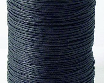 Black Waxed Cotton Cord (1mm x 100 yards, 2mm x 100 yards, 2mm x 288 yards)