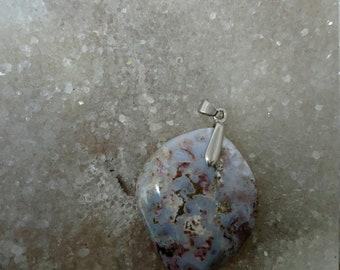 JASPE GRIS et ROUGE 14,28Gr-Pendentif feuille