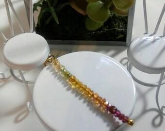 Natural Rainbow Sapphire Vertical Bar 14k GF Necklace