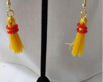 Small Yellow Tassel Earrings
