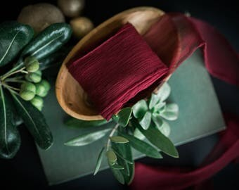 Merlot Silk Ribbon; 100% Silk Chiffon; Burgundy Maroon Red Wedding bridal bouquet, invitations, wedding favors