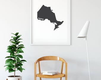 Ontario Print, Map Art, Canada Day, Canadian Decor, Canada Decor, Modern Map Art, Home Decor, Province Print, Wall Art, Canadian