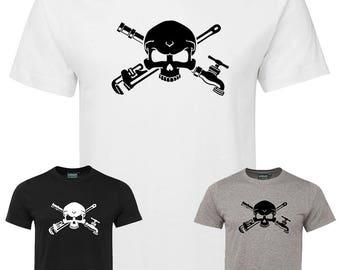 Plumber T-shirt - plumber skull crossbones t shirt plumbing contractor tee shirt