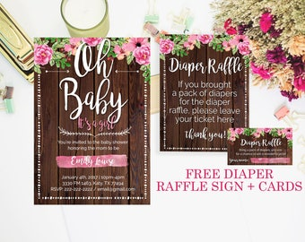 rustic baby shower invitation, Its a girl, girl baby shower, Floral Baby Shower Invitation, baby girl, girl baby shower invitation, cute