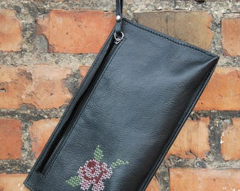 A rose on a clutch - Handmade vegan leather