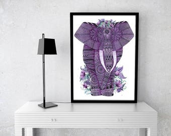Elephant Poster, Original Elephant, Watercolor Elephant, Zentangle, Art, Doodle, Purple Elephant, Drawing, Draw, Illustration, Paint, Animal