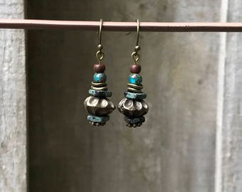 Bronze Earrings Bohemian Earrings Rustic Earrings Dangle Earrings Red Earrings Turquoise Earrings Boho Jewelry Gift for her