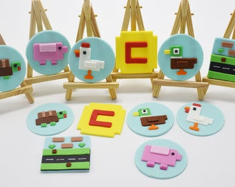 Crossy Road Cupcakes and Cookies Fondant Toppers