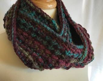 Chunky Winter Cowl, Thick and Warm, Purple, Green, Teal