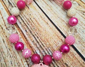 Hot pink heart bubble bead gum necklaces