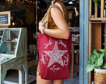 Tote-Bag Star Calligraphy / Black White Red Brown / Positive words / Yoga bag / Love Dream / Gift for her