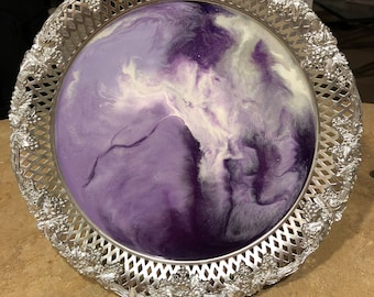 Large Vintage Tray - Custom Design Resin Tray - 15 Inch Tray - Purple Passion