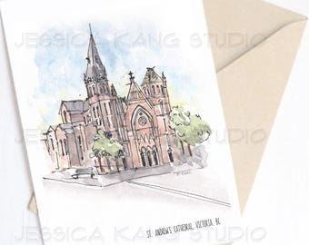St. Andrew's Cathedral, Victoria, Canada - Travel Sketch Greeting Card