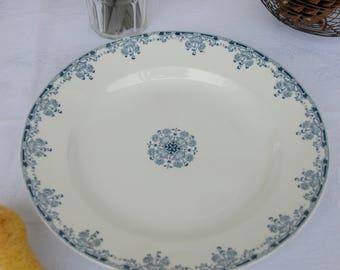 Large Round French Ironstone Platter. Sarreguemines. Blue and White Transferware. Mignon.