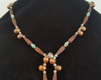 Brown Pearl Necklace / Bronze Pearl / Y Necklace / Native Inspired / Cowboy Jewelry / Western Jewelry / Magnet