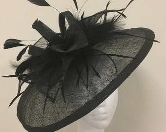 Black large fascinator