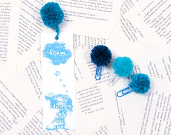 Bookmark Set & Mini Pom Pom Clips Bookworm Bookish Book Quotes Book Lover I Love Books Reading is Dreaming with Eyes Open Sky Blue