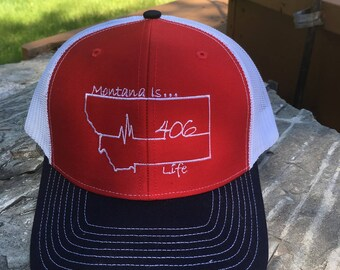 Montana is Life Baseball Hat - Red/White/Black