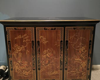 Black Lacquer Chinoiserie Bar Cabinet