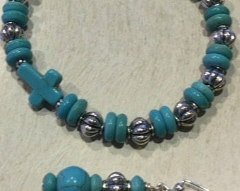 2 piece set-Stunning Turquoise and Silver Bracelet & Earrings/w Turquoise Religious Cross