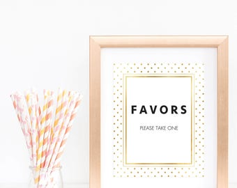Gold Glitter Favors Sign Baby Shower Modern Baby Party Table Sign Printable Please Take One Sign Confetti Gold Foil Faux Favor Printable GD1