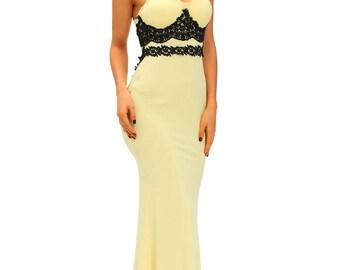 Lace Detail Long Prom Dress 50531