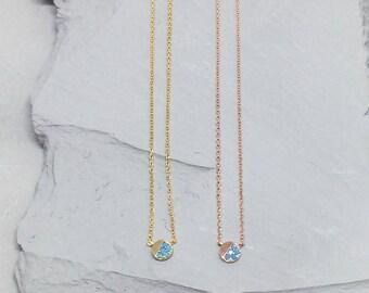 Handmade Dainty Round Pendant Turquoise Stone Necklace