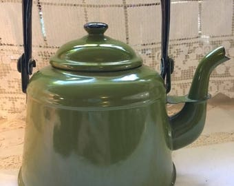Vintage green enamel tea kettle teapot