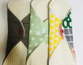 SET OF 3, organic cloth menstrual pads, mama pads, day pads, period pads, reusable cloth pads, moon pads