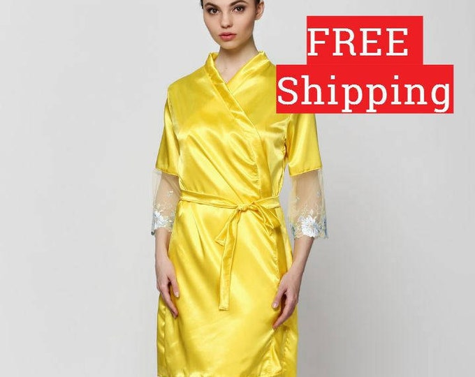 Brides Robe, Robe Satin, Bride Kimono, Bridesmaid Robe, Cotton Bathrobe, Cotton Bath Robe, Kimono Bathrobe, Satin Robe, Wedding Robes